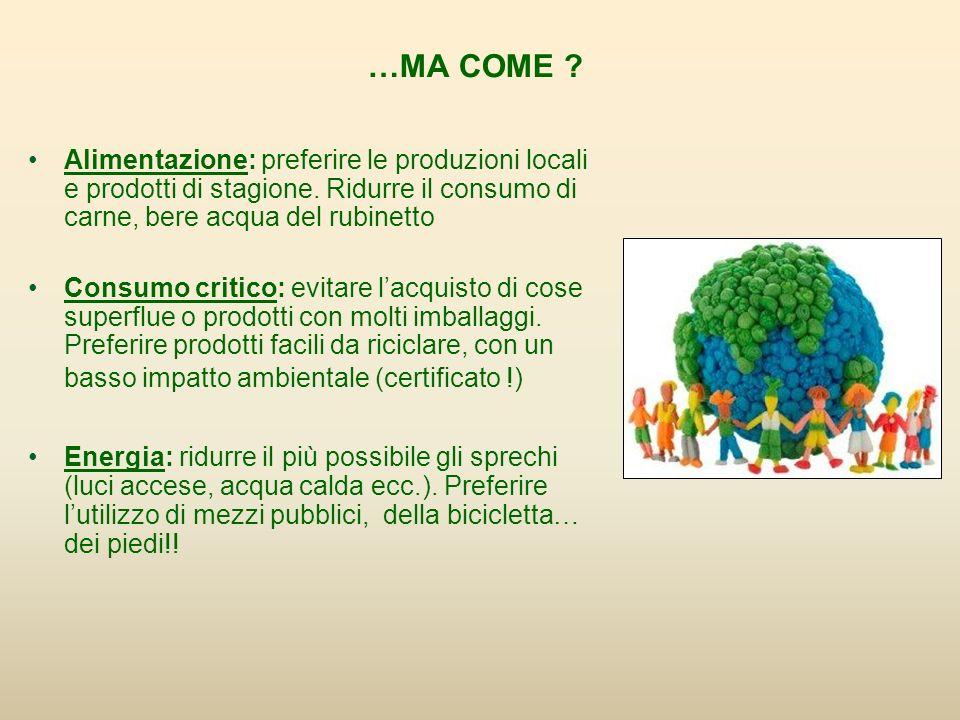 …MA COME Alimentazione: preferire le produzioni locali e prodotti di stagione. Ridurre il consumo di carne, bere acqua del rubinetto.