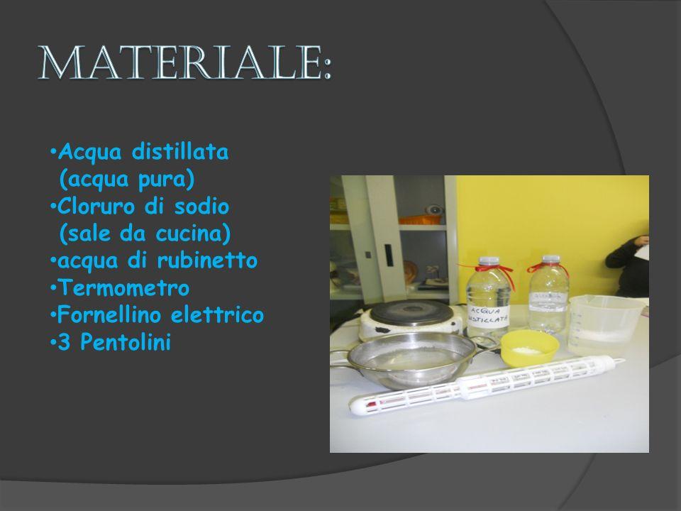 materiale: Acqua distillata (acqua pura) Cloruro di sodio