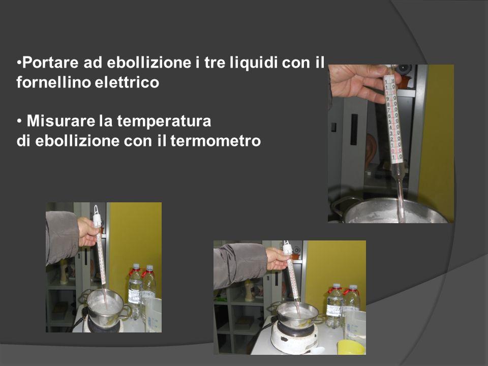 Portare ad ebollizione i tre liquidi con il fornellino elettrico