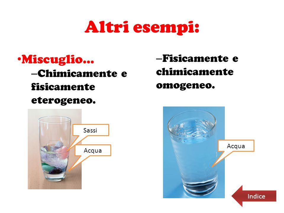 Altri esempi: Miscuglio… Fisicamente e chimicamente omogeneo.