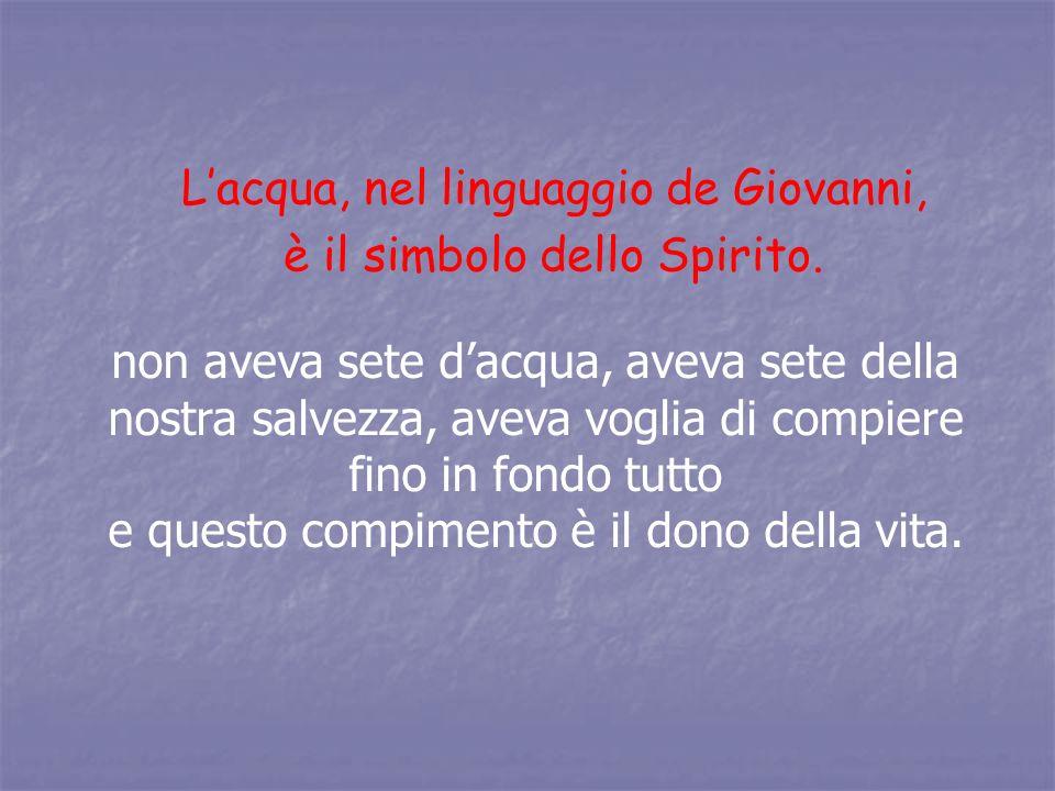 L'acqua, nel linguaggio de Giovanni, è il simbolo dello Spirito.