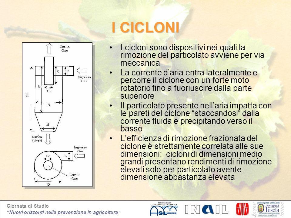 I CICLONI I cicloni sono dispositivi nei quali la rimozione del particolato avviene per via meccanica.