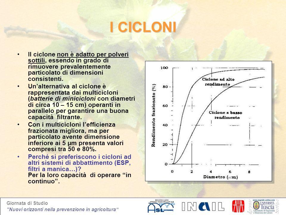 I CICLONIIl ciclone non è adatto per polveri sottili, essendo in grado di rimuovere prevalentemente particolato di dimensioni consistenti.
