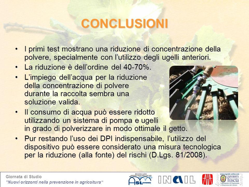 CONCLUSIONII primi test mostrano una riduzione di concentrazione della polvere, specialmente con l'utilizzo degli ugelli anteriori.