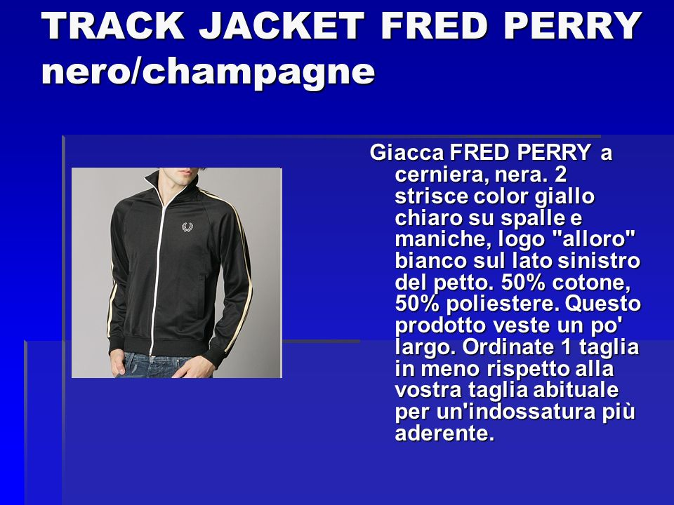 TRACK JACKET FRED PERRY nero/champagne