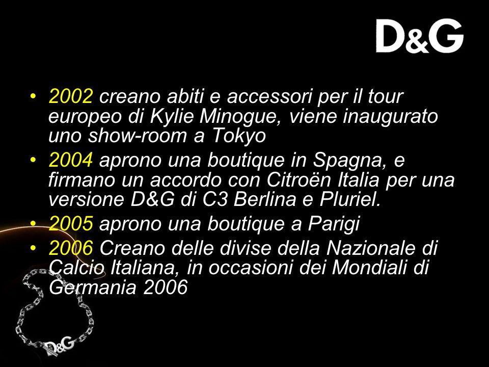 2002 creano abiti e accessori per il tour europeo di Kylie Minogue, viene inaugurato uno show-room a Tokyo