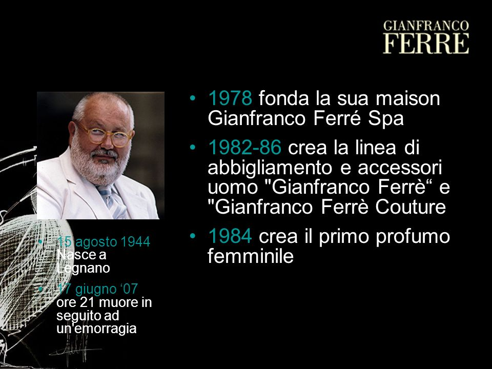 1978 fonda la sua maison Gianfranco Ferré Spa