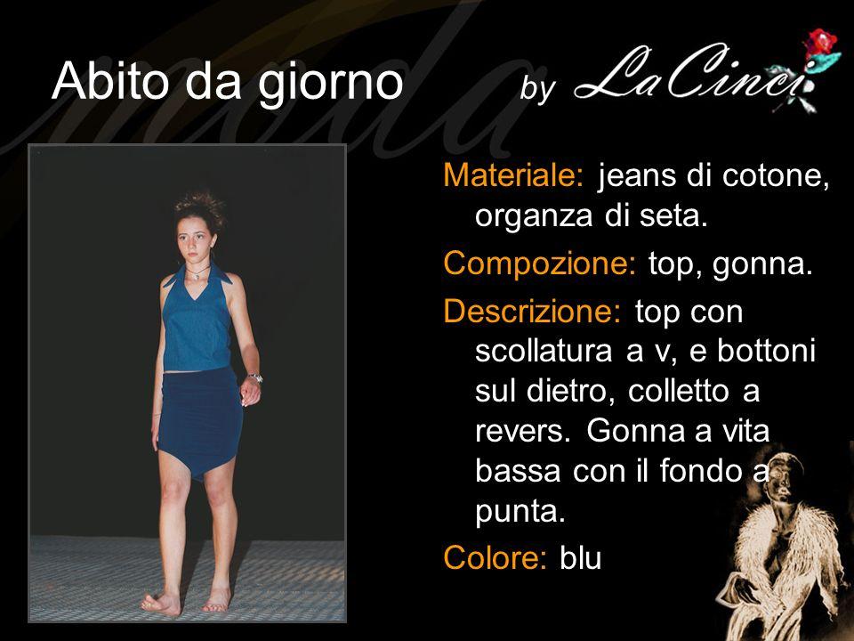 Abito da giorno by Materiale: jeans di cotone, organza di seta.
