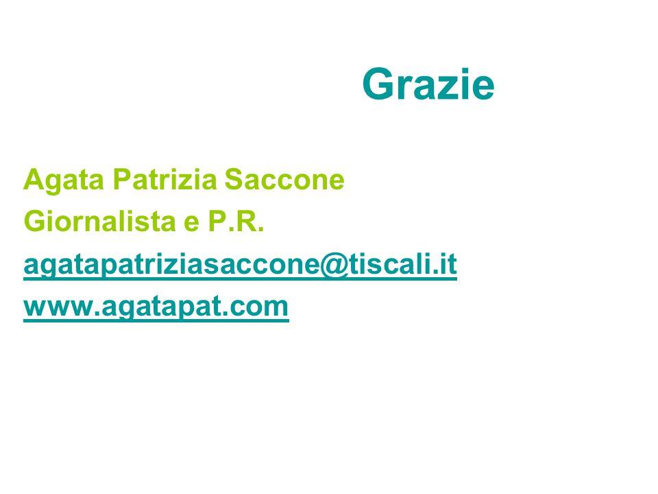 Grazie Agata Patrizia Saccone Giornalista e P.R.