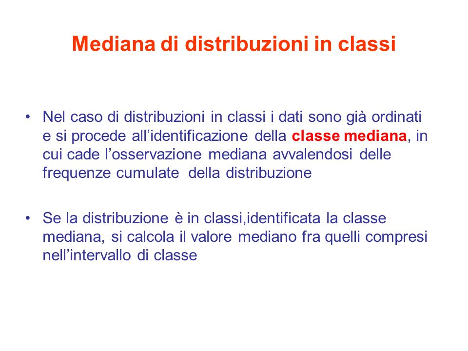 Mediana di distribuzioni in classi