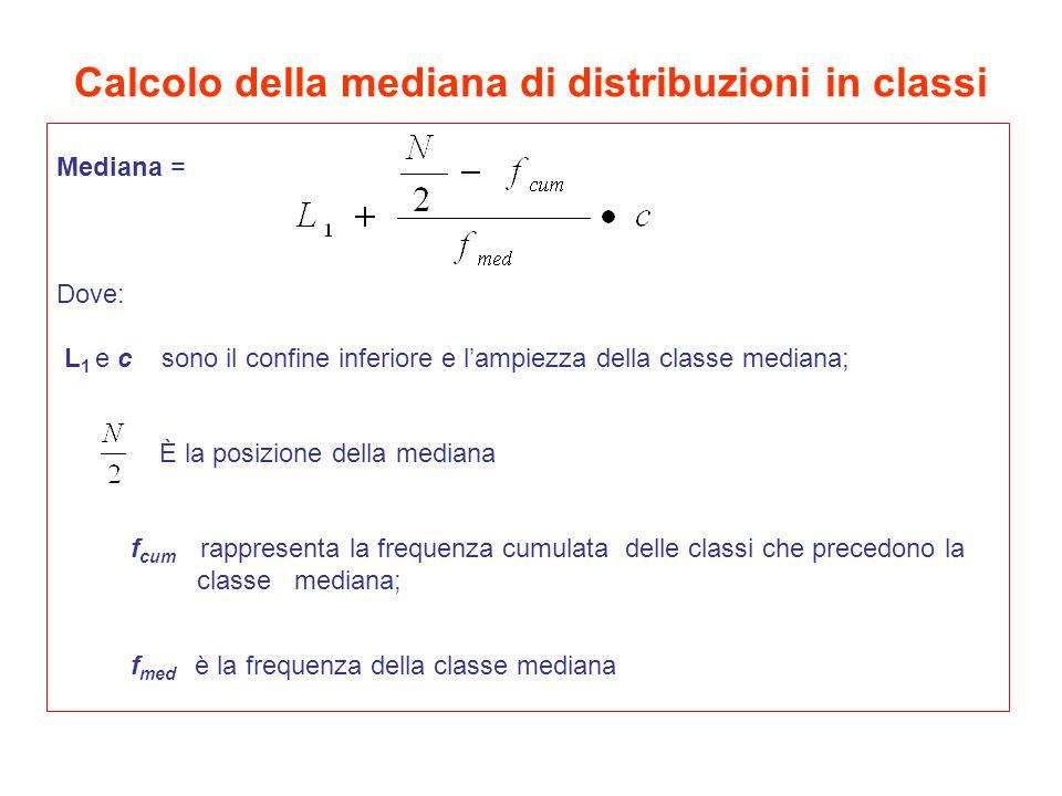 Calcolo della mediana di distribuzioni in classi