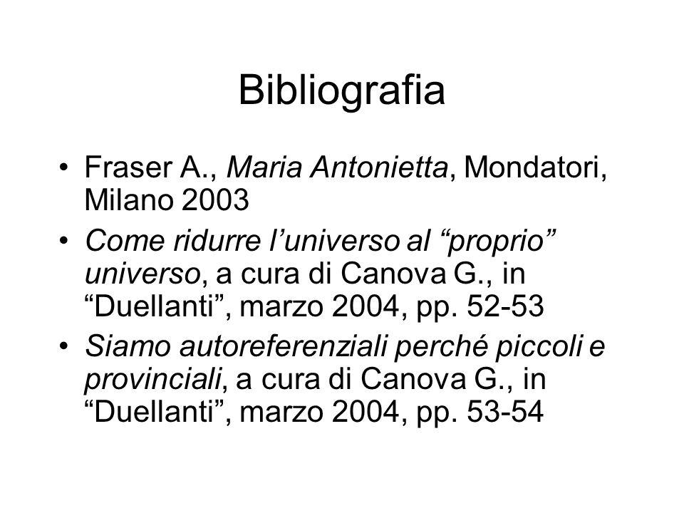 Bibliografia Fraser A., Maria Antonietta, Mondatori, Milano 2003