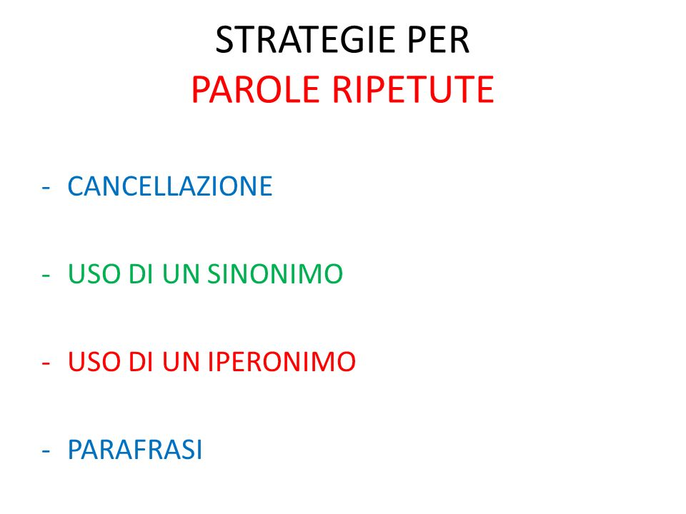 STRATEGIE PER PAROLE RIPETUTE