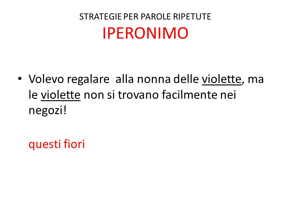 STRATEGIE PER PAROLE RIPETUTE IPERONIMO