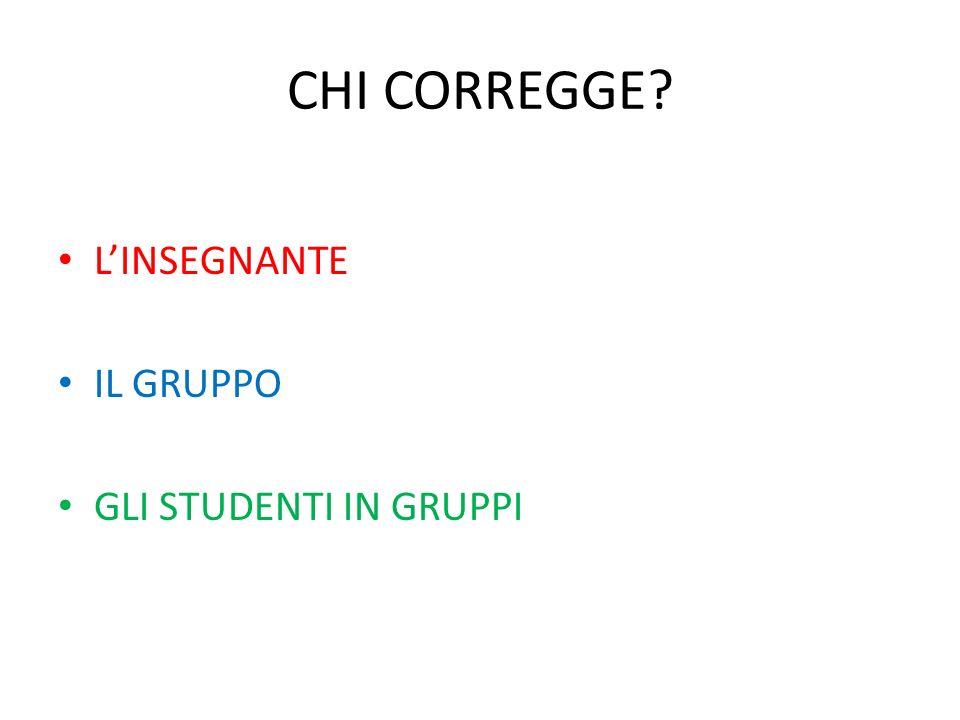 CHI CORREGGE L'INSEGNANTE IL GRUPPO GLI STUDENTI IN GRUPPI