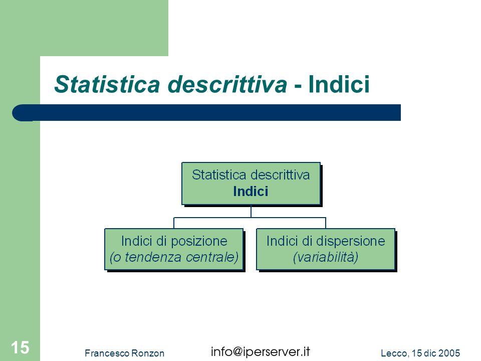 Statistica descrittiva - Indici