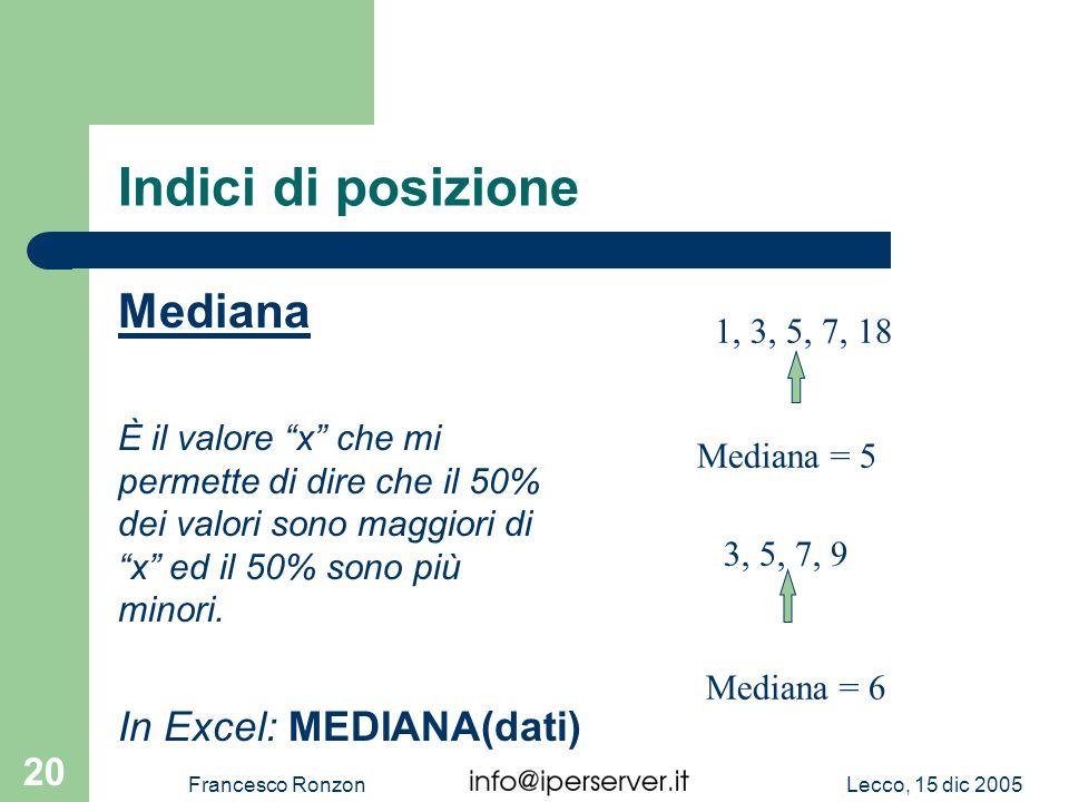 Indici di posizione Mediana In Excel: MEDIANA(dati) 1, 3, 5, 7, 18