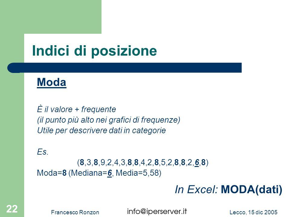 Indici di posizione Moda In Excel: MODA(dati) È il valore + frequente