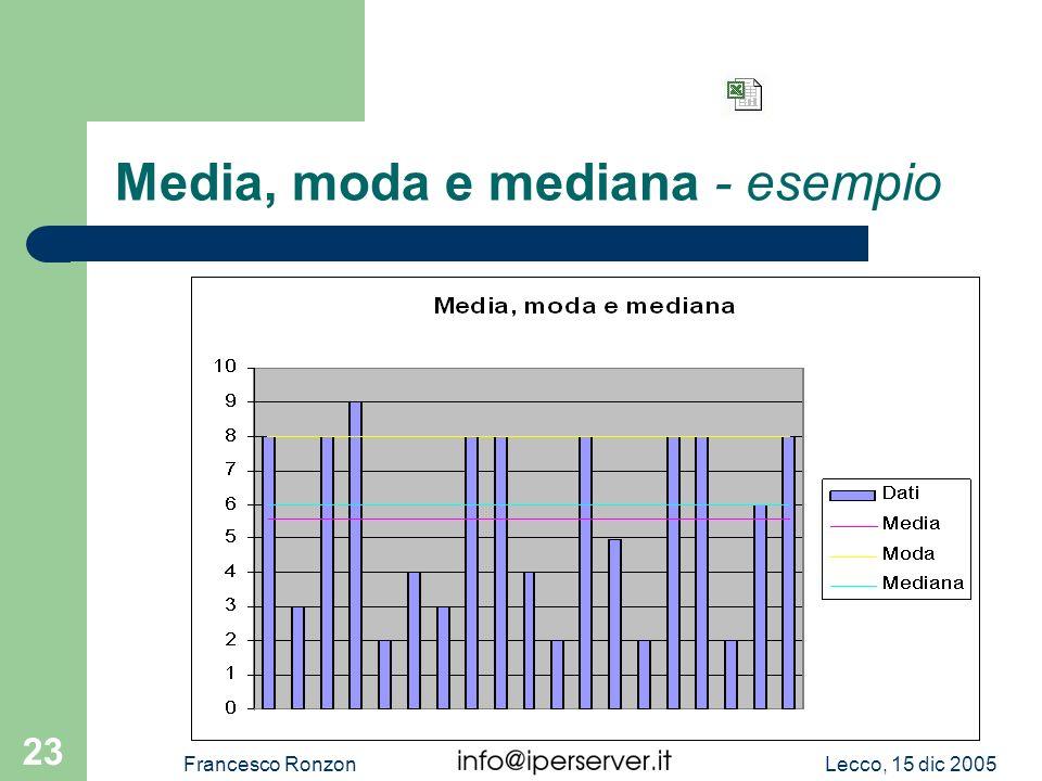 Media, moda e mediana - esempio