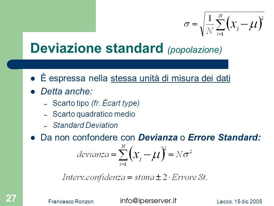 Deviazione standard (popolazione)