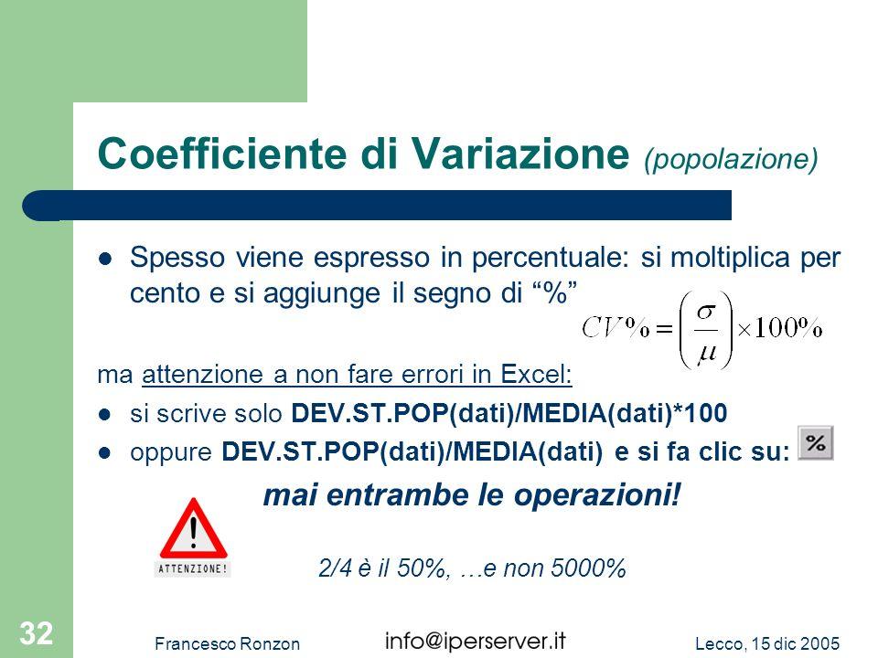 Coefficiente di Variazione (popolazione)