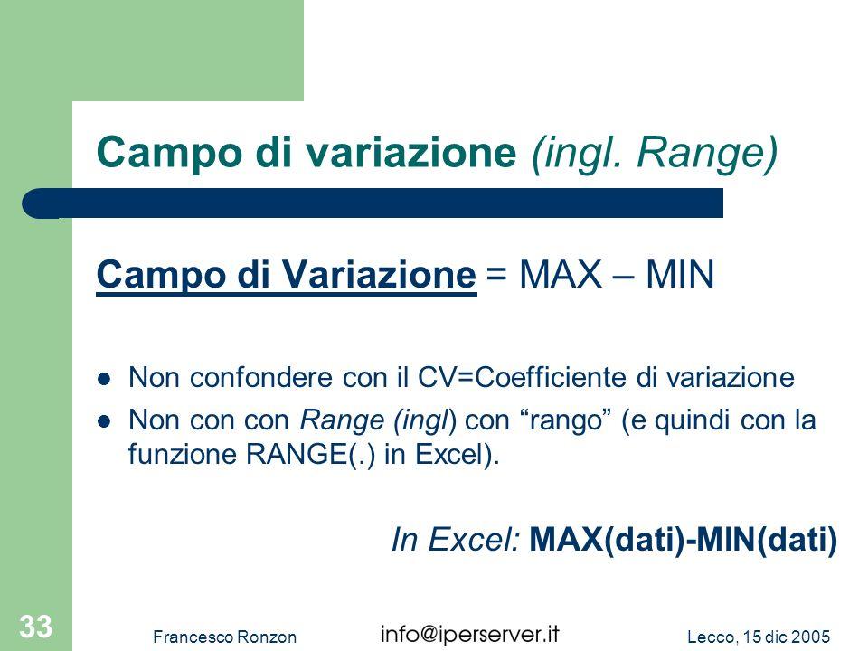 Campo di variazione (ingl. Range)