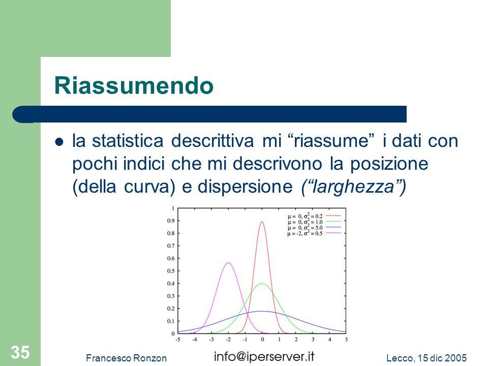 Riassumendo la statistica descrittiva mi riassume i dati con pochi indici che mi descrivono la posizione (della curva) e dispersione ( larghezza )