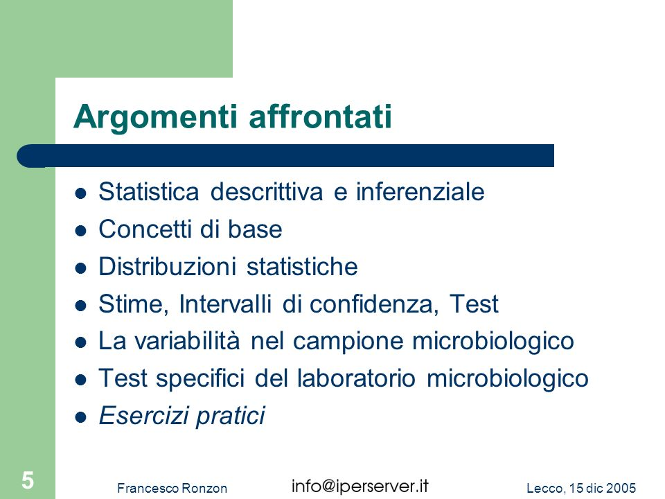 Statistica applicata all analisi microbiologica