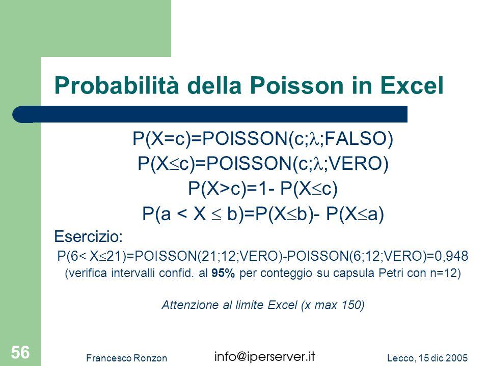 Probabilità della Poisson in Excel