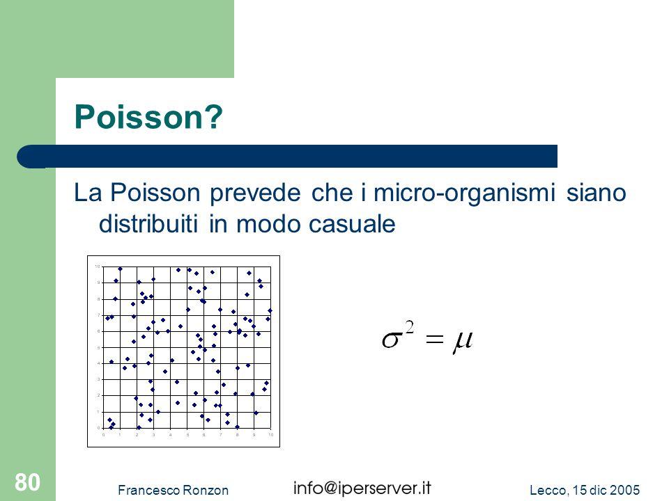 Poisson La Poisson prevede che i micro-organismi siano distribuiti in modo casuale. Francesco Ronzon.