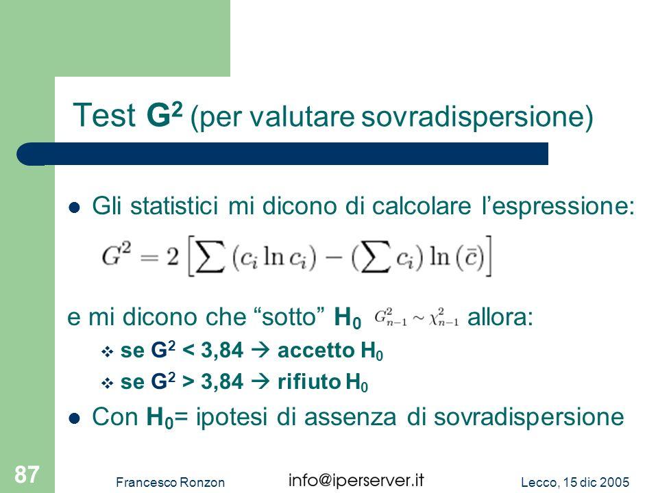 Test G2 (per valutare sovradispersione)