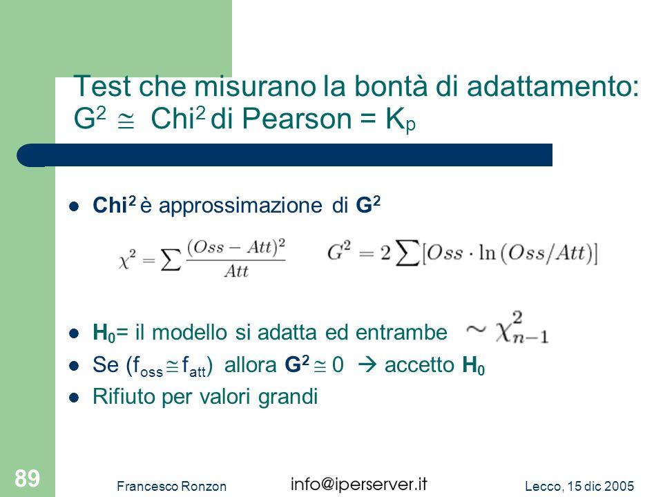 Test che misurano la bontà di adattamento: G2  Chi2 di Pearson = Kp