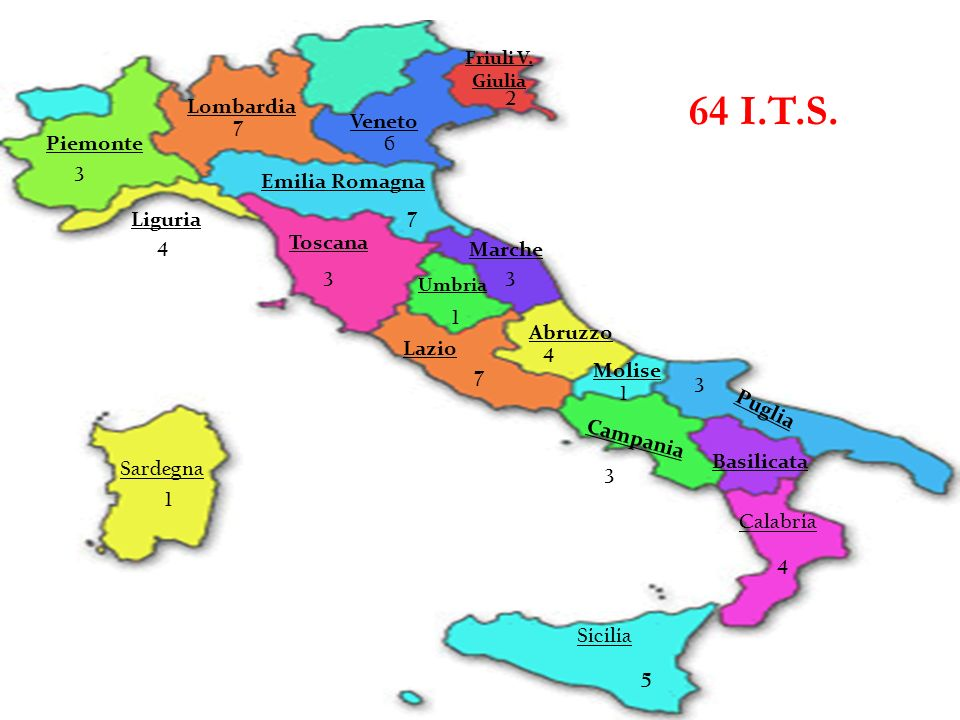 64 I.T.S. 2 Lombardia Veneto 7 Piemonte 6 3 Emilia Romagna Liguria 7