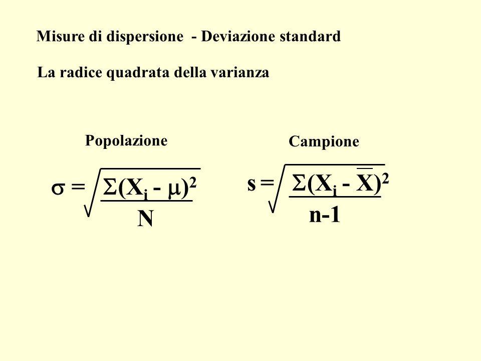 s = S(Xi - X)2 s = S(Xi - m)2 n-1 N