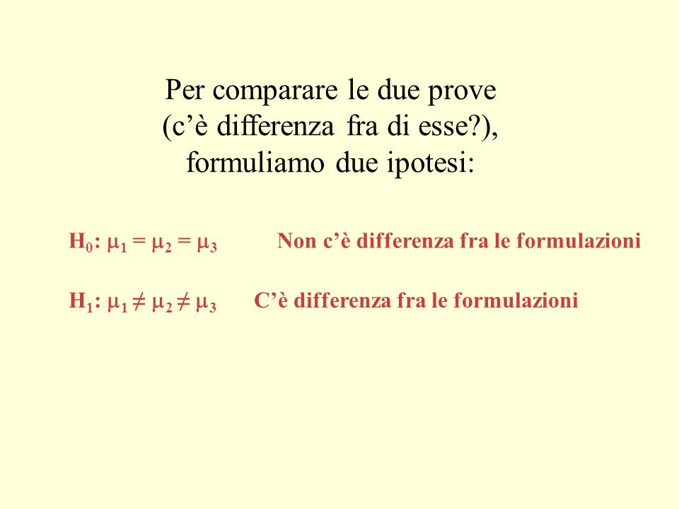 Per comparare le due prove (c'è differenza fra di esse ),