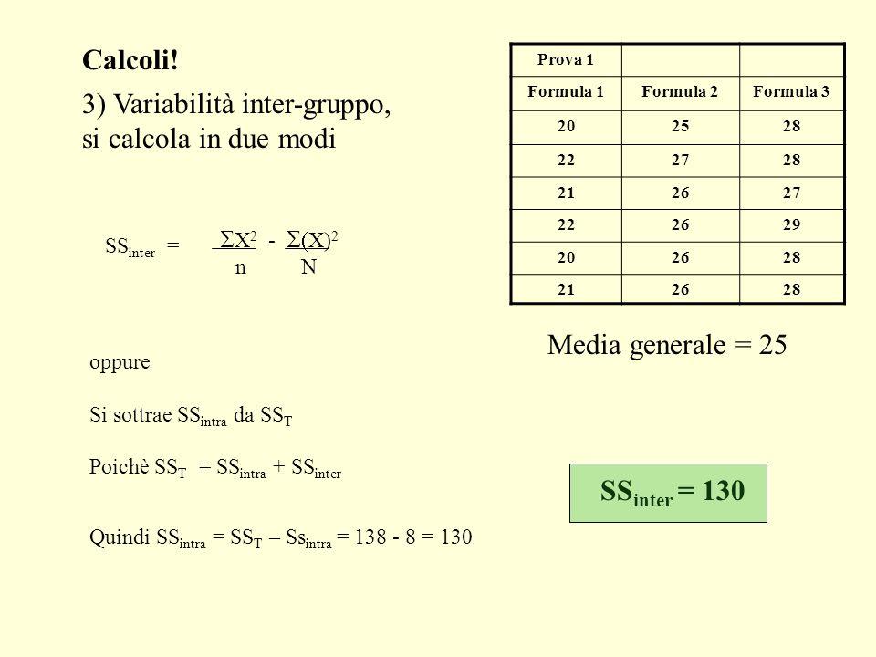 3) Variabilità inter-gruppo, si calcola in due modi