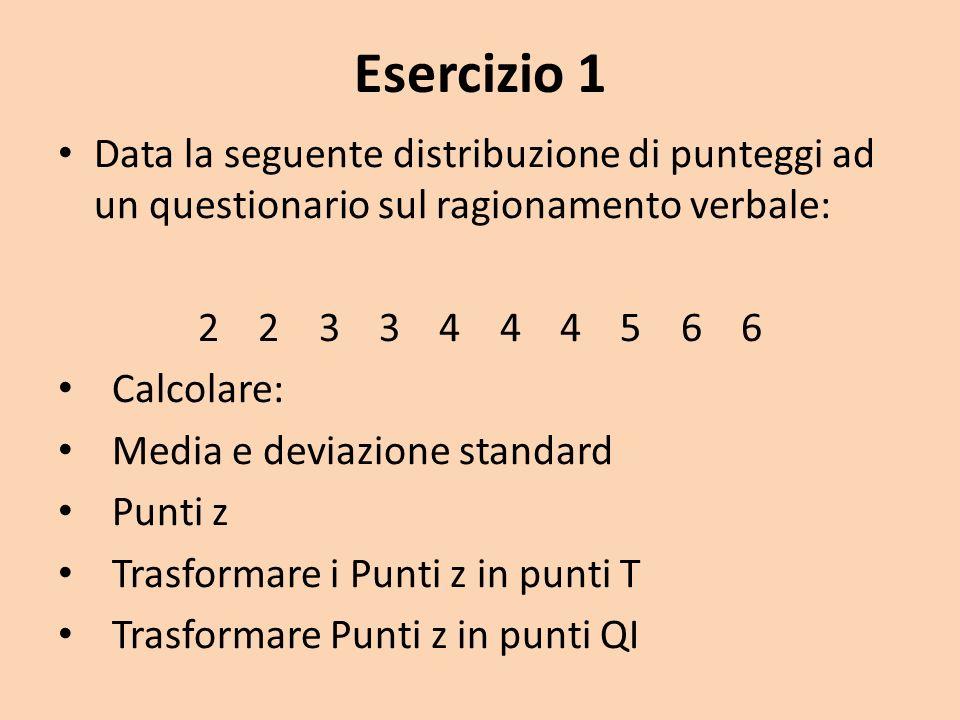 Esercizio 1 Data la seguente distribuzione di punteggi ad un questionario sul ragionamento verbale: