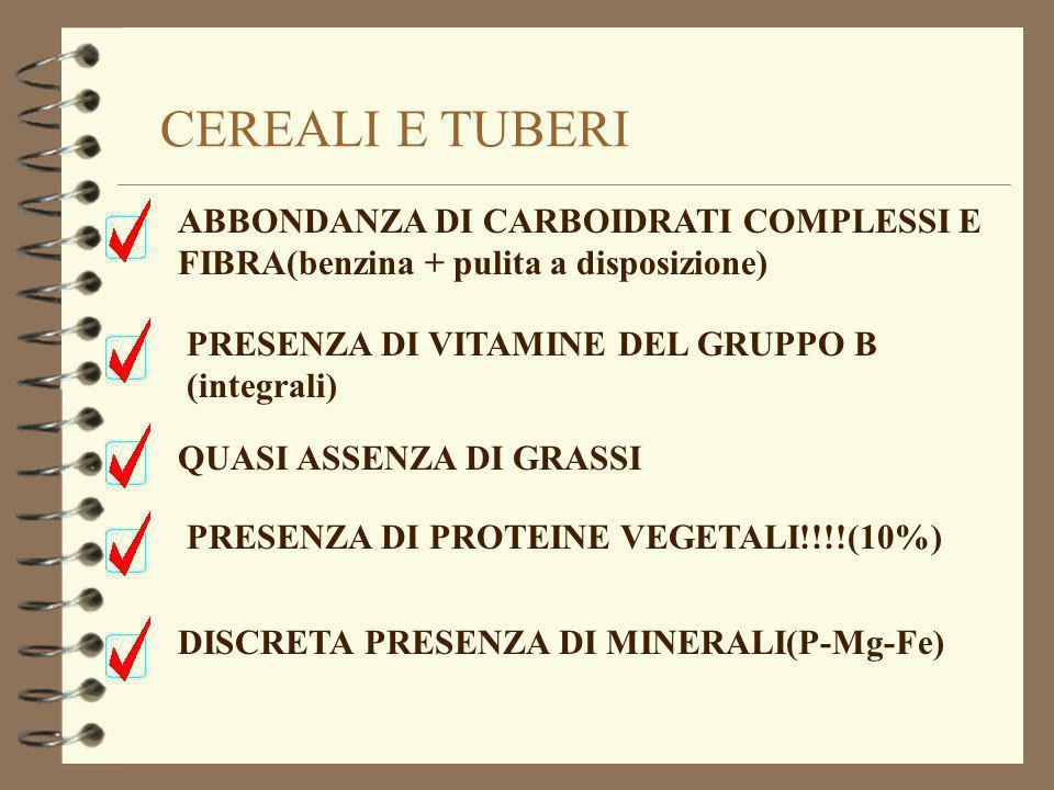 CEREALI E TUBERI ABBONDANZA DI CARBOIDRATI COMPLESSI E FIBRA(benzina + pulita a disposizione) PRESENZA DI VITAMINE DEL GRUPPO B (integrali)