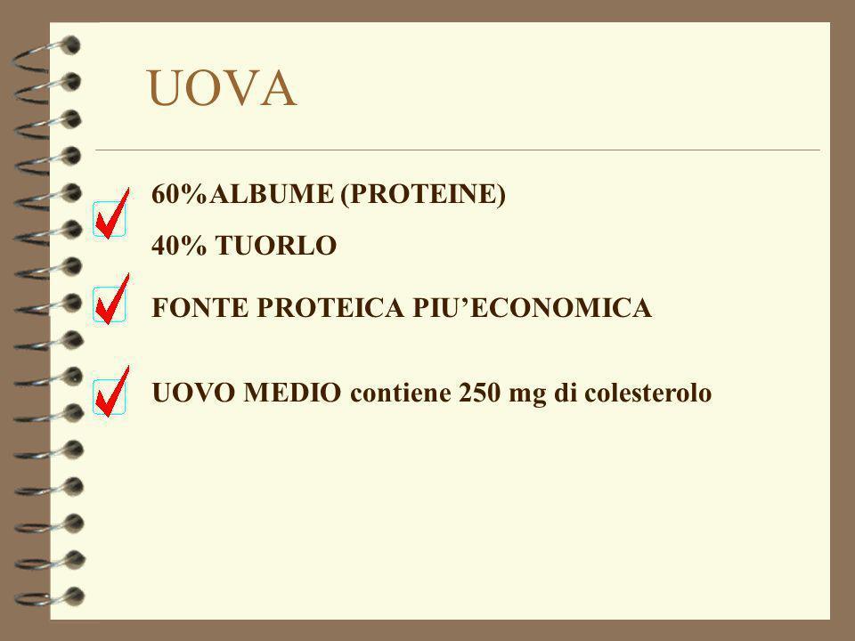 UOVA 60%ALBUME (PROTEINE) 40% TUORLO FONTE PROTEICA PIU'ECONOMICA