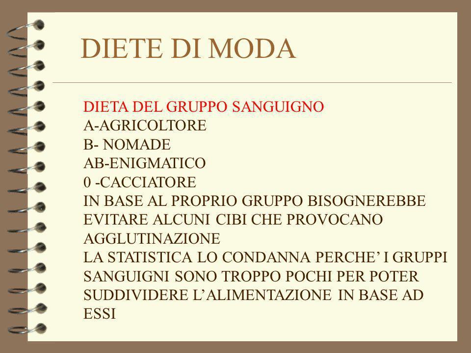 DIETE DI MODA DIETA DEL GRUPPO SANGUIGNO A-AGRICOLTORE B- NOMADE