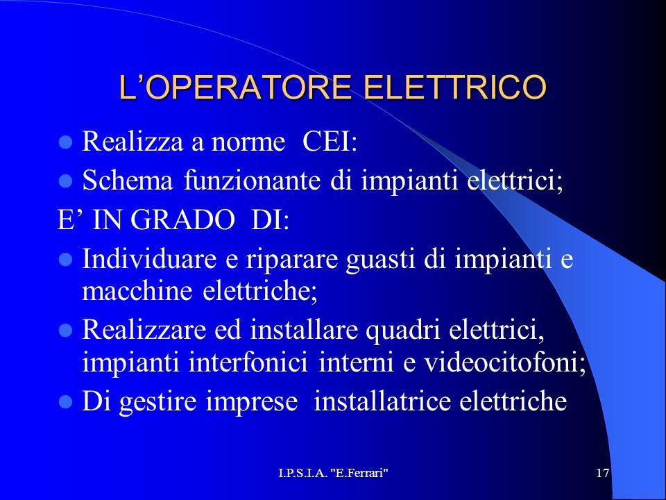L'OPERATORE ELETTRICO