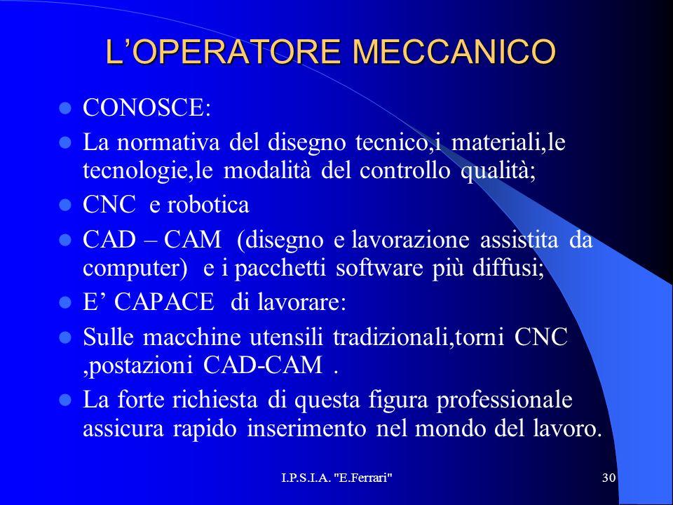 L'OPERATORE MECCANICO