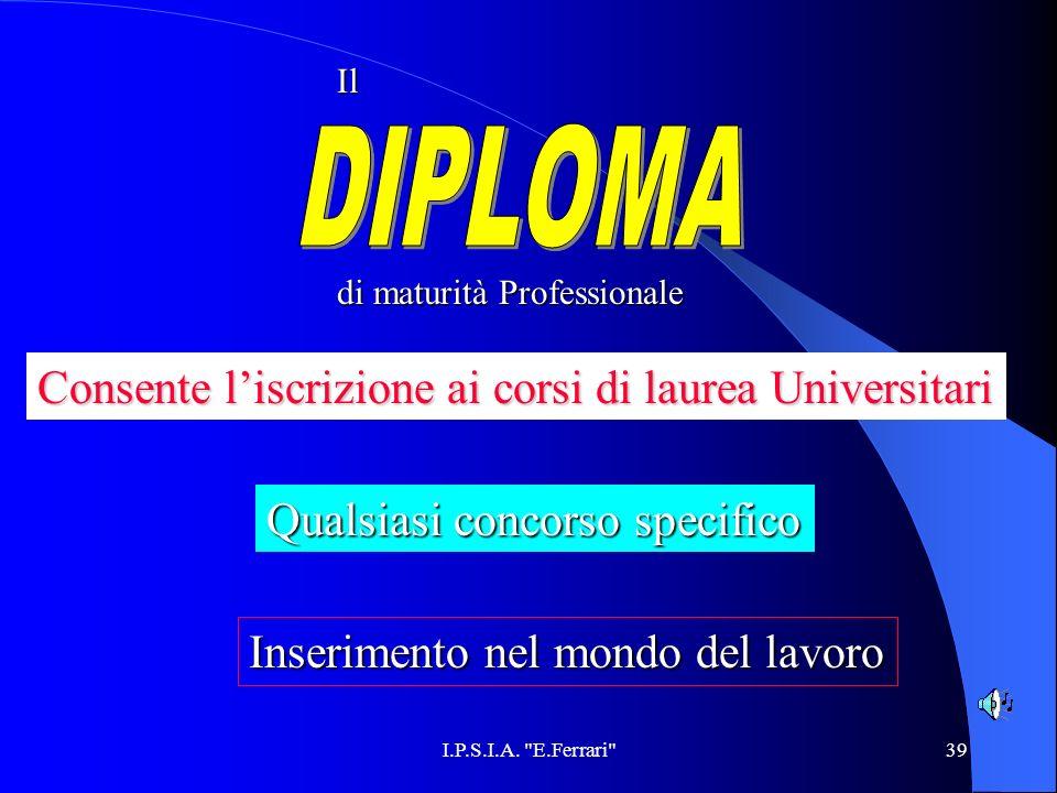 DIPLOMA Consente l'iscrizione ai corsi di laurea Universitari