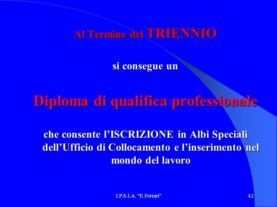 Al Termine del TRIENNIO Diploma di qualifica professionale