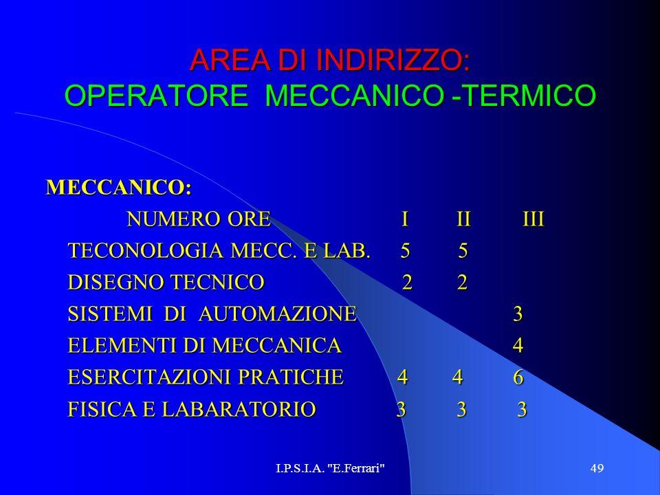 AREA DI INDIRIZZO: OPERATORE MECCANICO -TERMICO