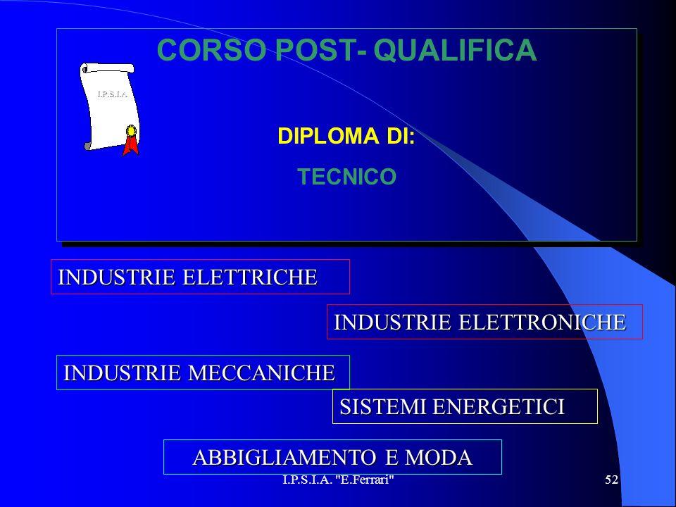 CORSO POST- QUALIFICA DIPLOMA DI: TECNICO INDUSTRIE ELETTRICHE