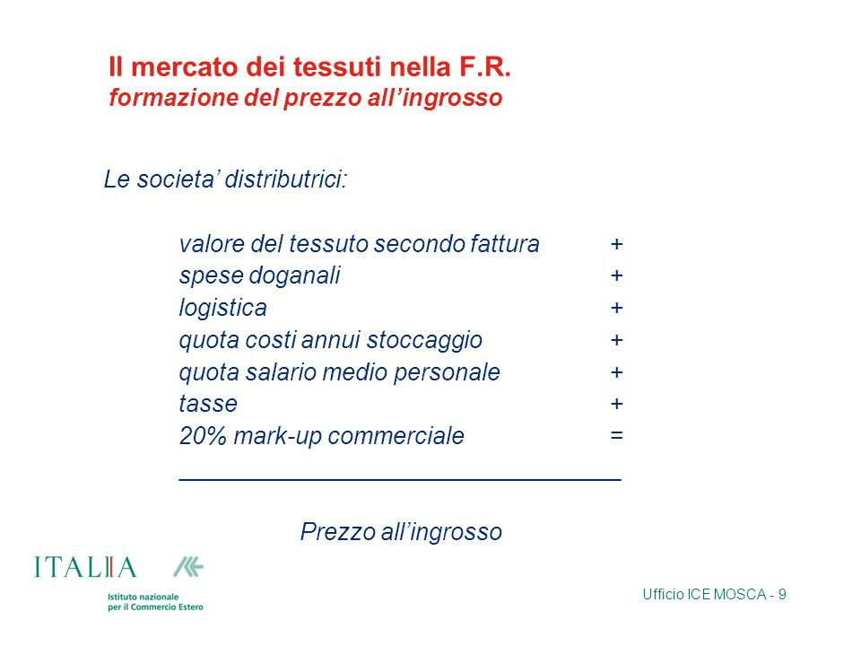 Il mercato dei tessuti nella F.R. formazione del prezzo all'ingrosso