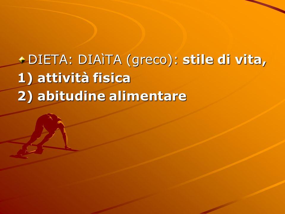 DIETA: DIAìTA (greco): stile di vita,