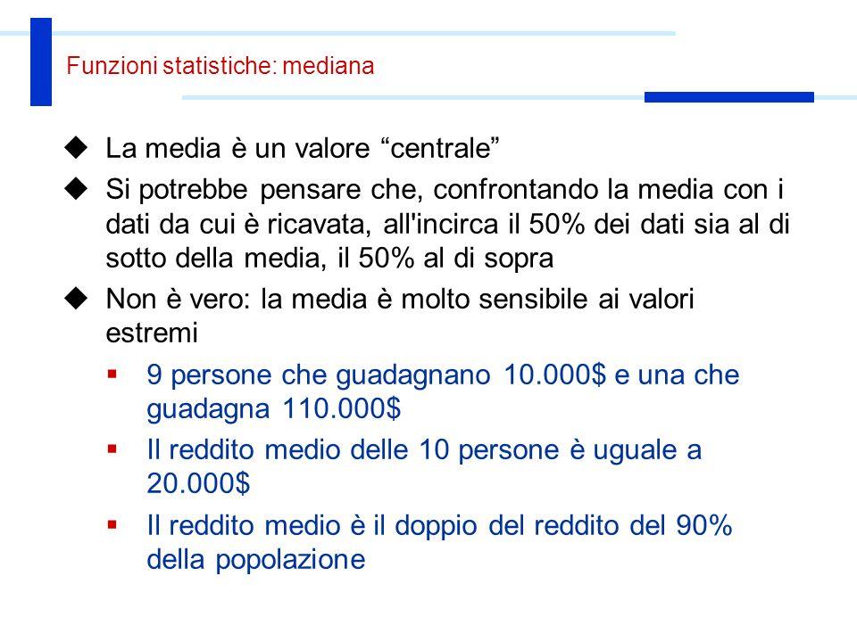 Funzioni statistiche: mediana