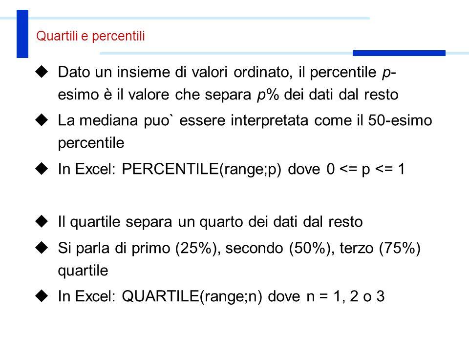 La mediana puo` essere interpretata come il 50-esimo percentile